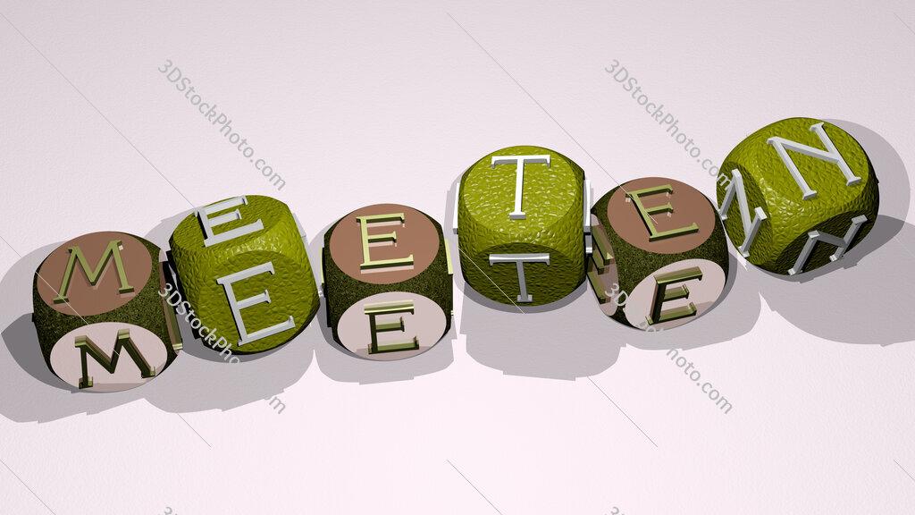 meeten text by dancing dice letters