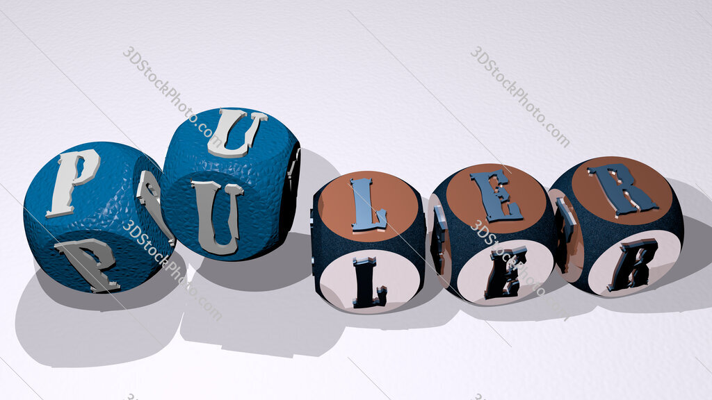 puler text by dancing dice letters