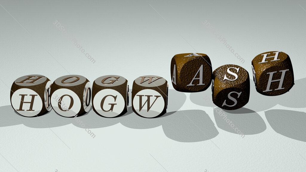 hogwash text by dancing dice letters