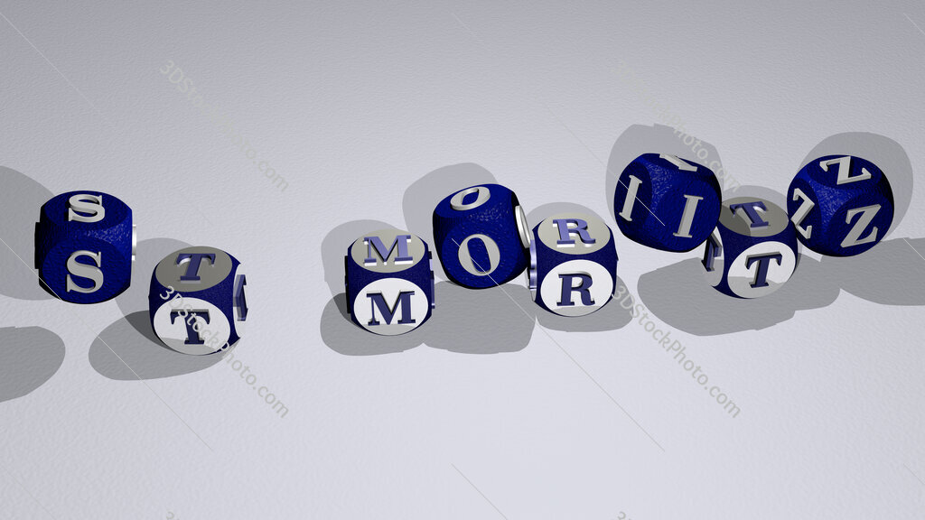 St Moritz text by dancing dice letters