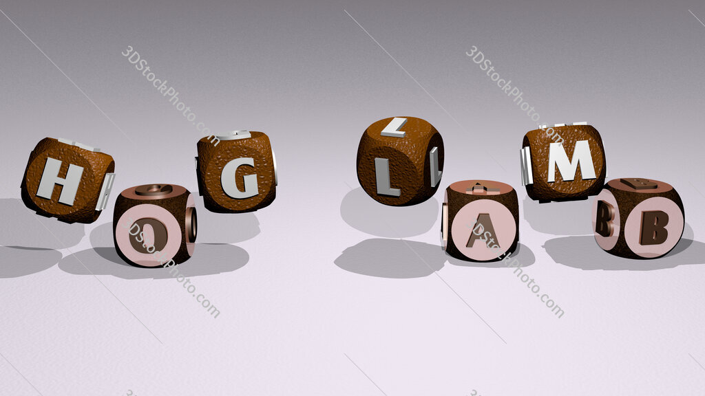 hog lamb text by dancing dice letters