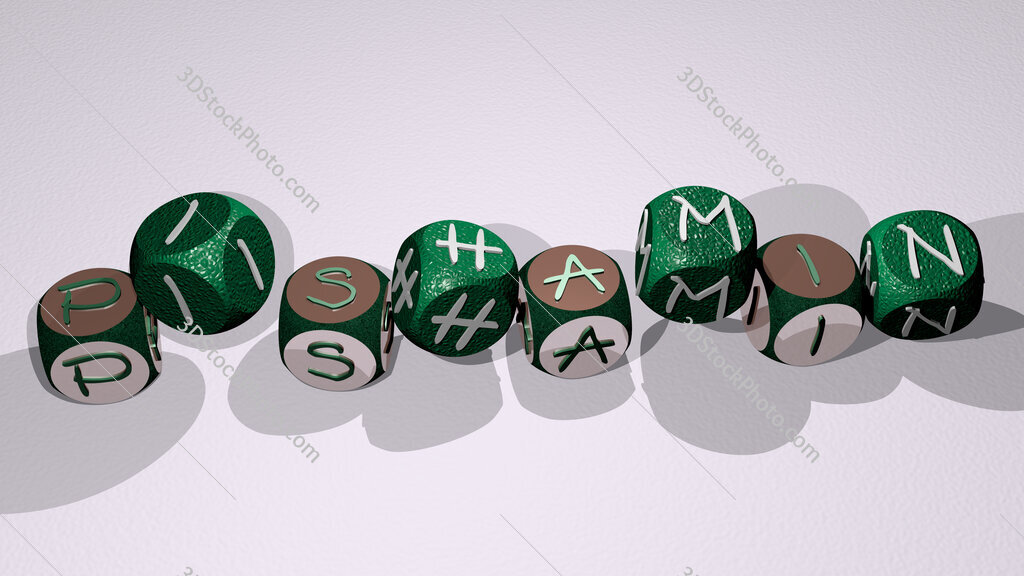 pishamin text by dancing dice letters