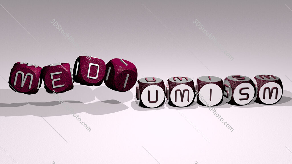 mediumism text by dancing dice letters
