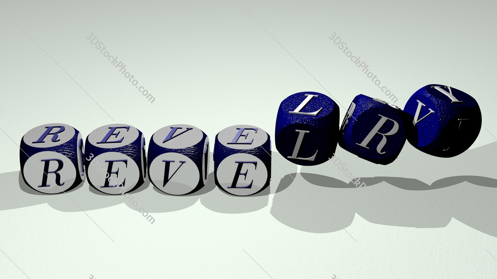 revelry text by dancing dice letters