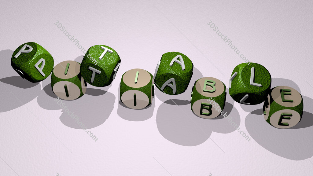 pitiable text by dancing dice letters