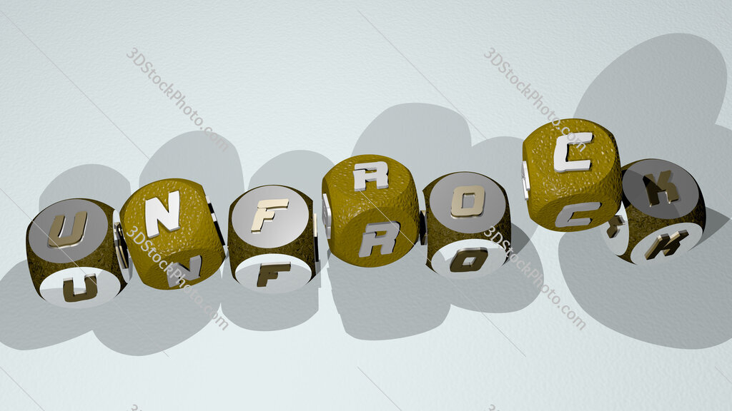 unfrock text by dancing dice letters