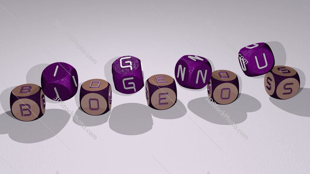 biogenous text by dancing dice letters