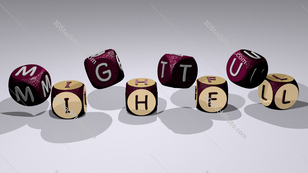 mightful text by dancing dice letters