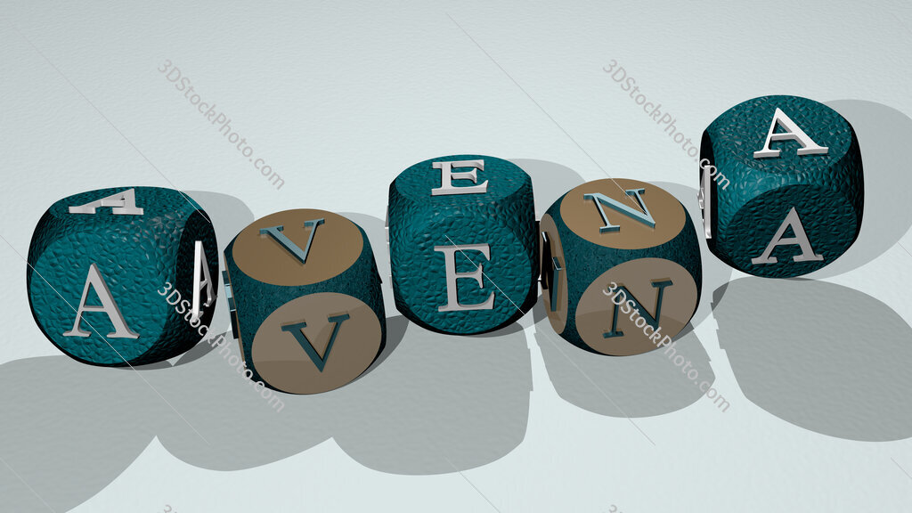 avena text by dancing dice letters