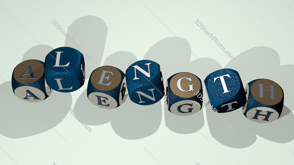 alength text by dancing dice letters