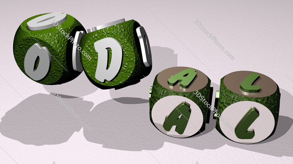 odal text by dancing dice letters