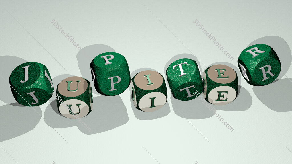 Jupiter text by dancing dice letters