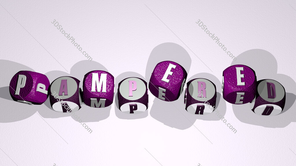 pampered text by dancing dice letters
