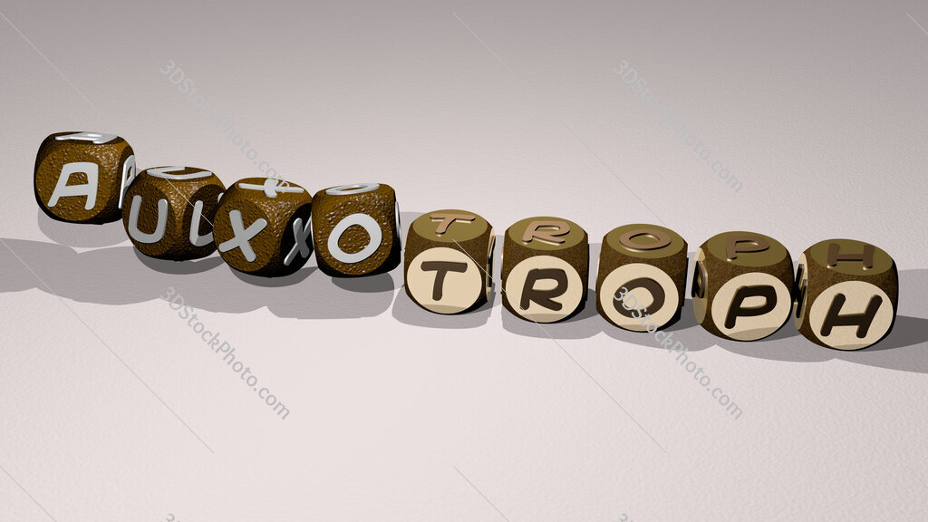 auxotroph text by dancing dice letters
