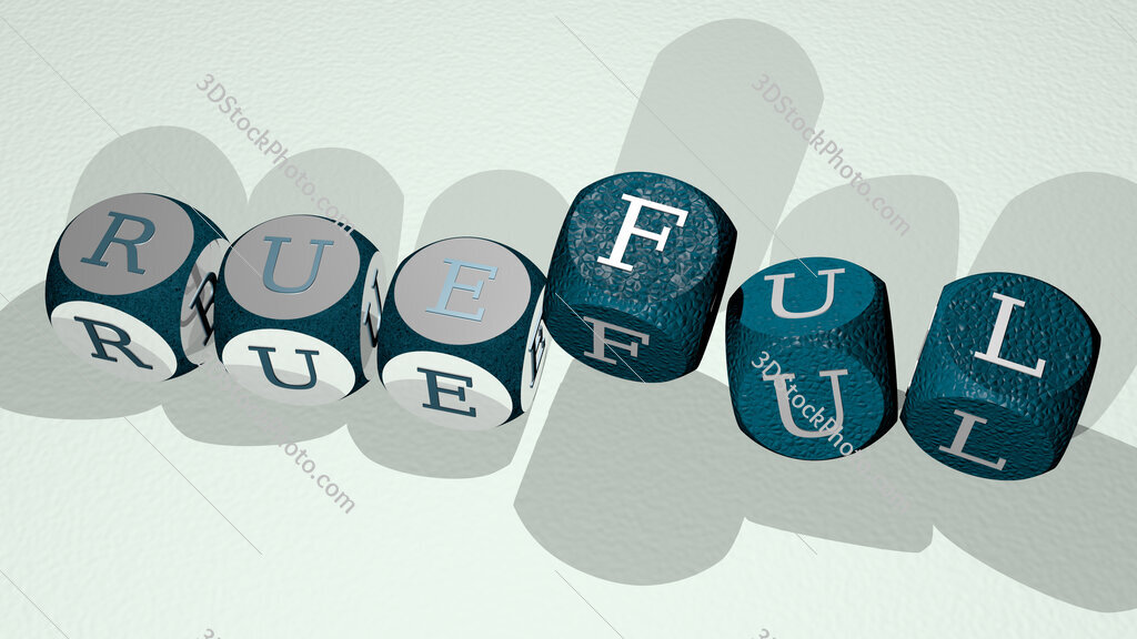 rueful text by dancing dice letters