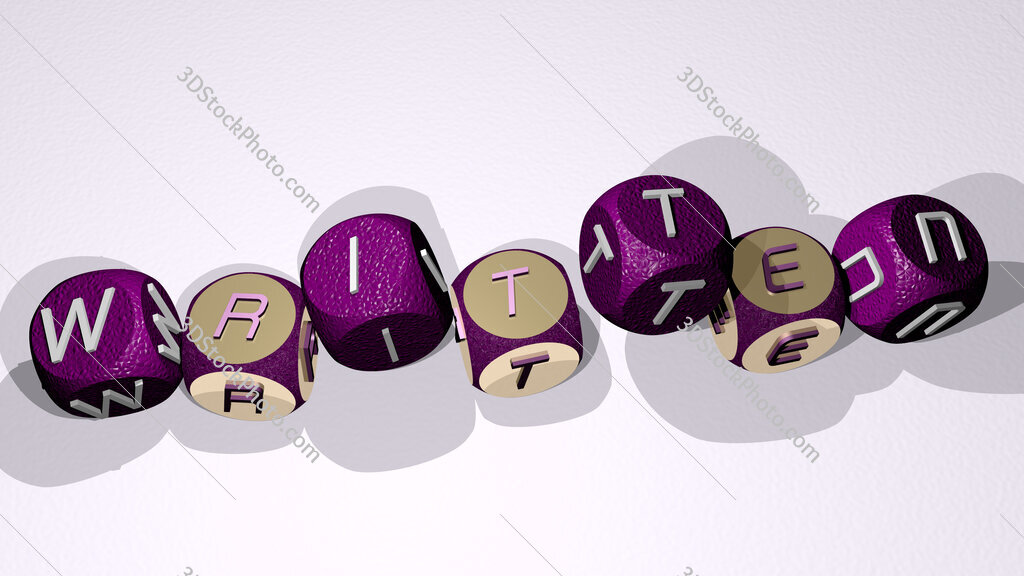 written text by dancing dice letters