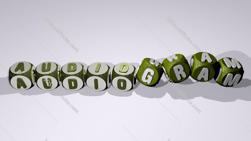 audiogram text by dancing dice letters
