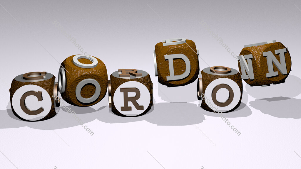 cordon text by dancing dice letters