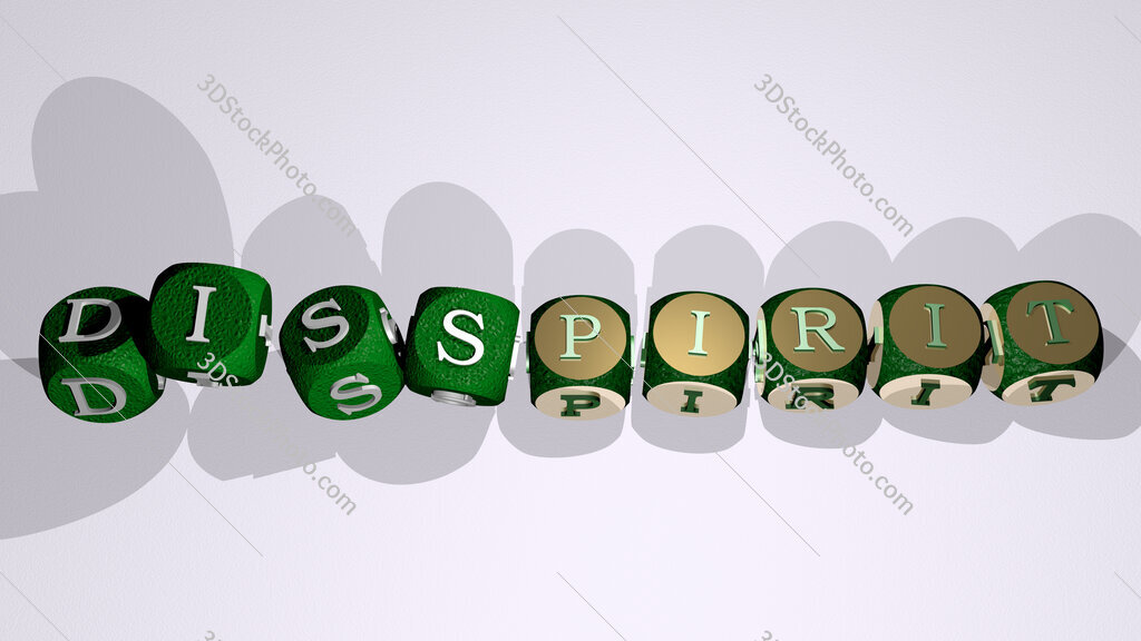 disspirit text by dancing dice letters