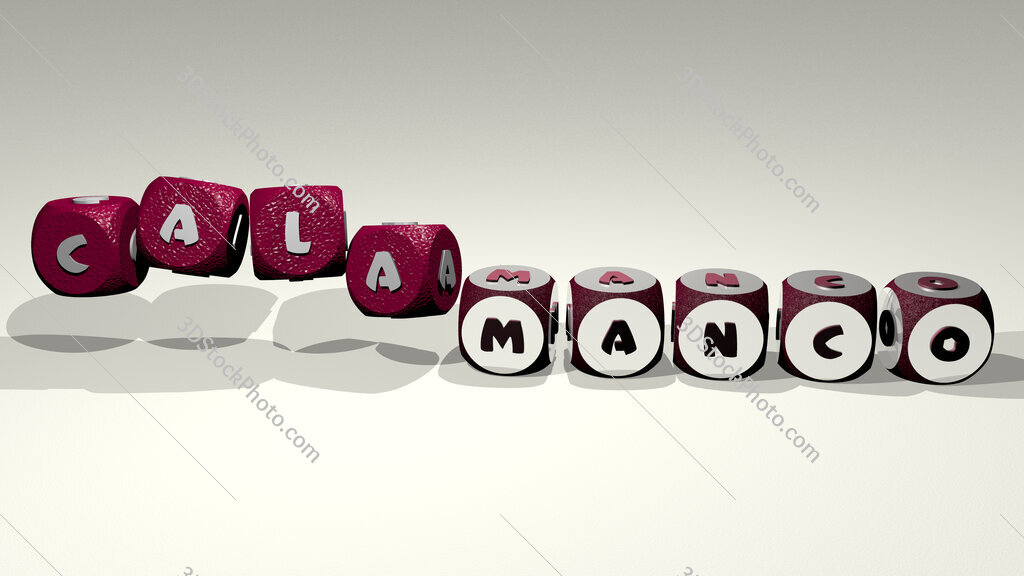 Calamanco text by dancing dice letters