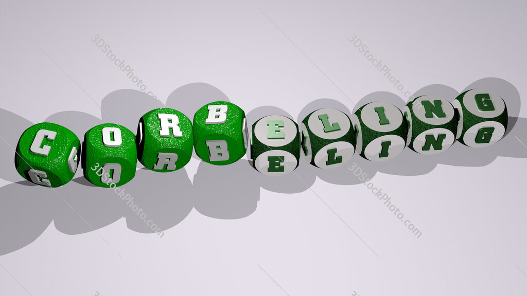 corbeling text by dancing dice letters