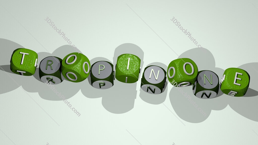 Tropinone text by dancing dice letters