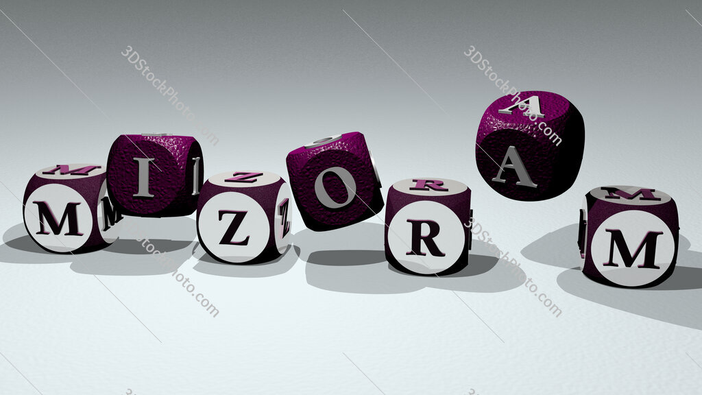 Mizoram text by dancing dice letters