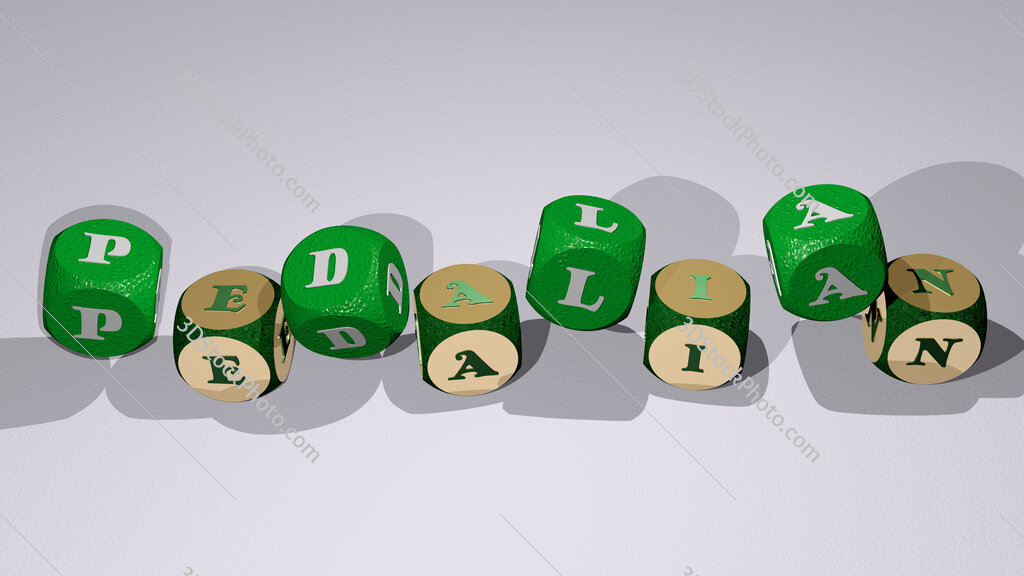 pedalian text by dancing dice letters