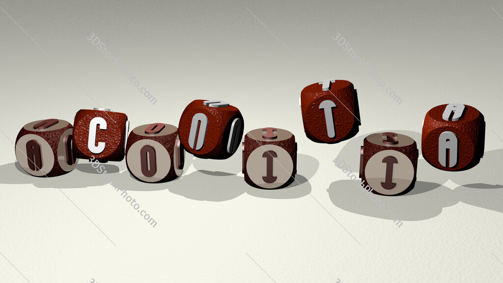 aconitia text by dancing dice letters