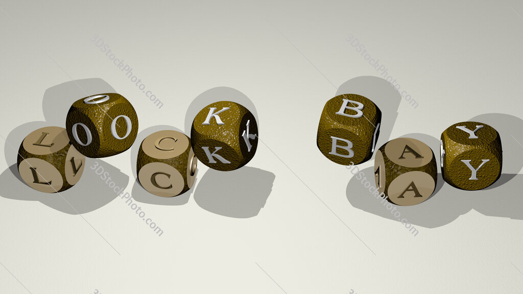 lock bay text by dancing dice letters