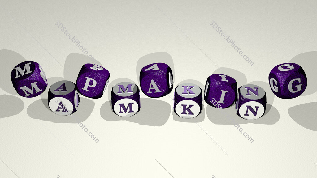 mapmaking text by dancing dice letters