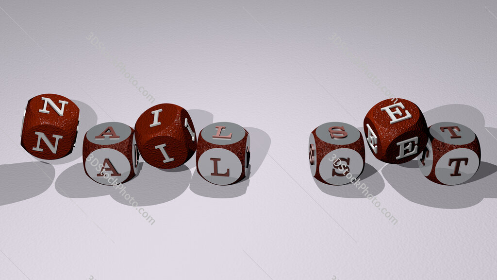 nail set text by dancing dice letters