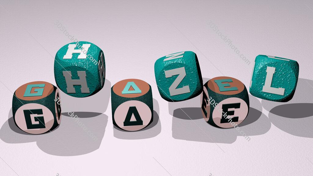 ghazel text by dancing dice letters