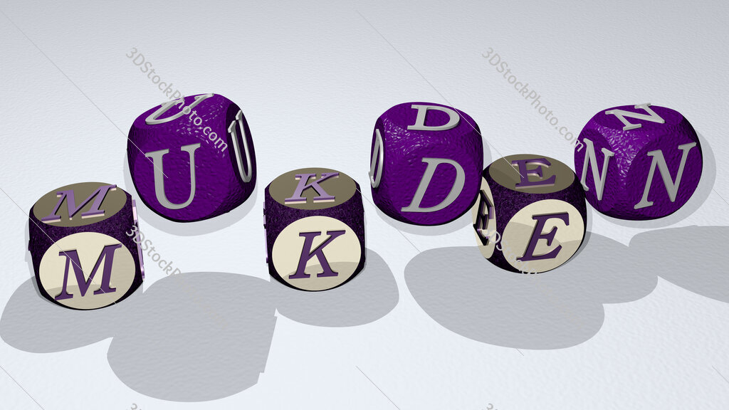 Mukden text by dancing dice letters