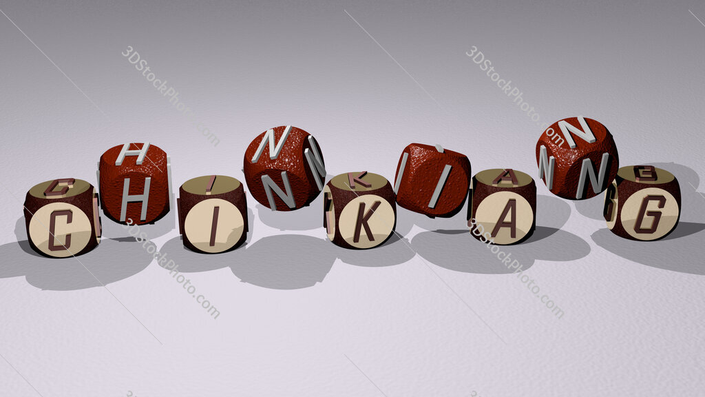 Chinkiang text by dancing dice letters
