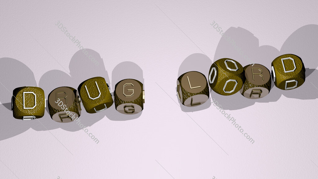 drug lord text by dancing dice letters