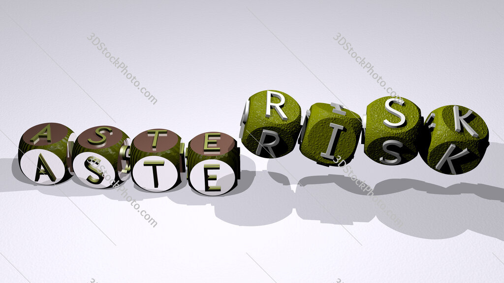 asterisk text by dancing dice letters