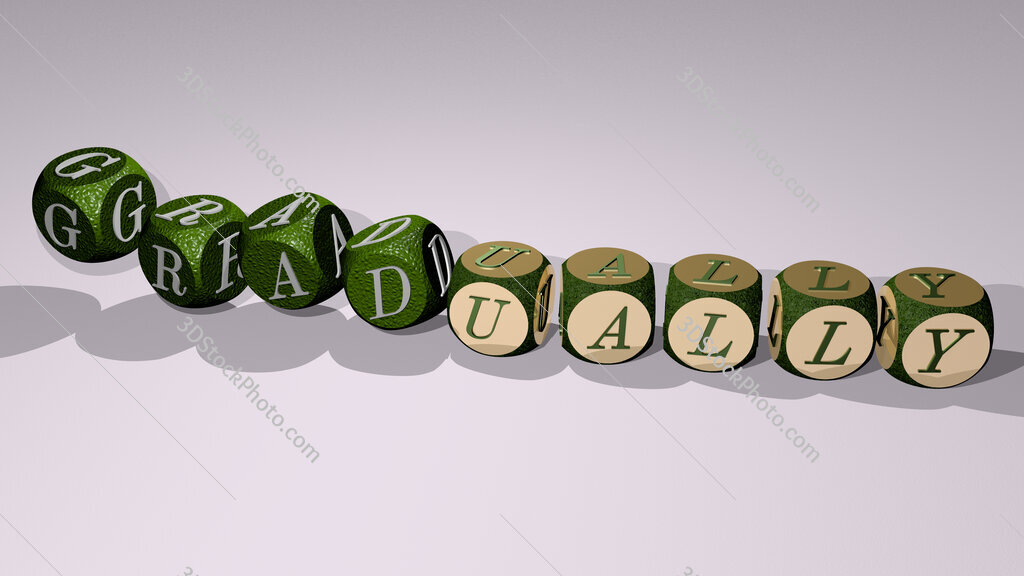 gradually text by dancing dice letters