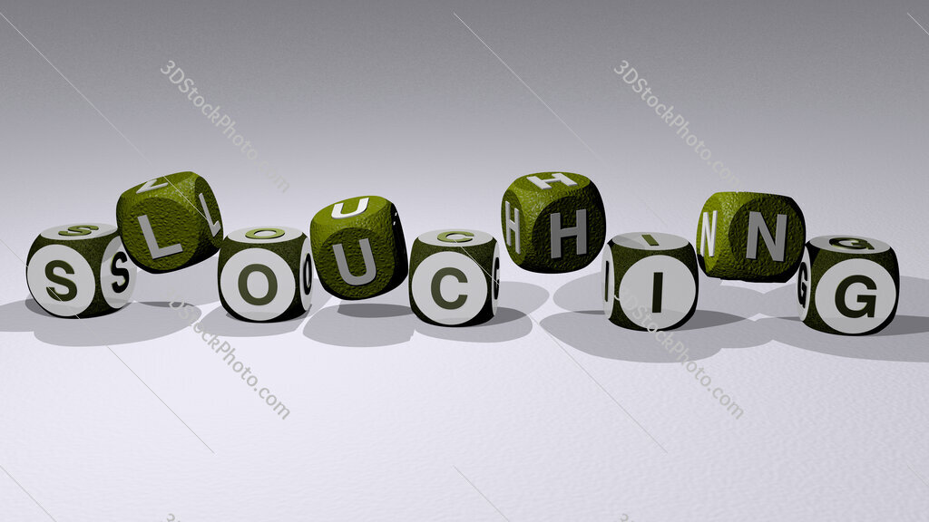 slouching text by dancing dice letters