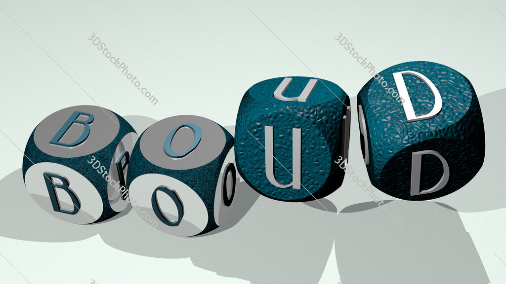boud text by dancing dice letters