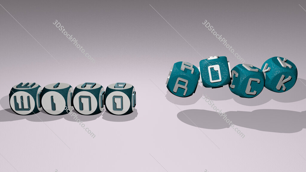 wind rock text by dancing dice letters