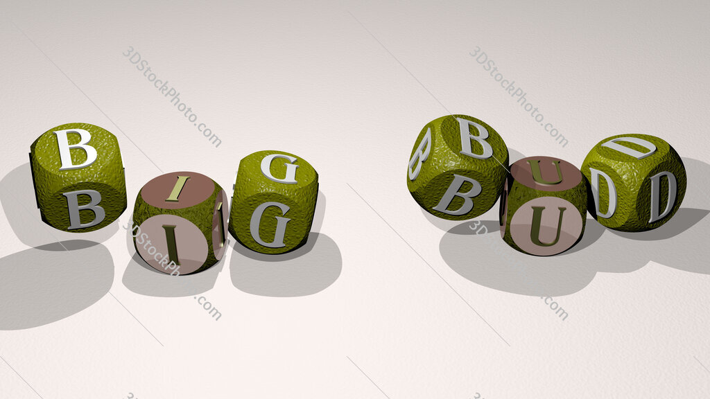 big bud text by dancing dice letters