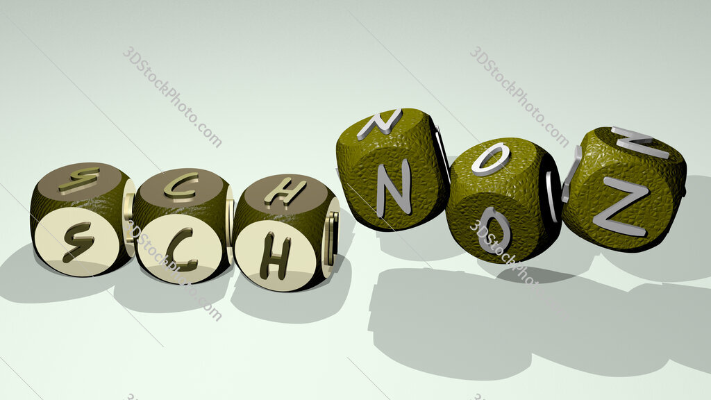 schnoz text by dancing dice letters
