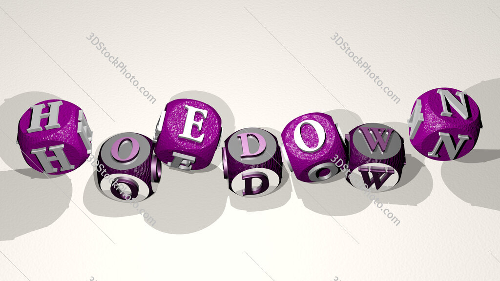 hoedown text by dancing dice letters
