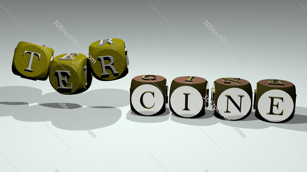 tercine text by dancing dice letters