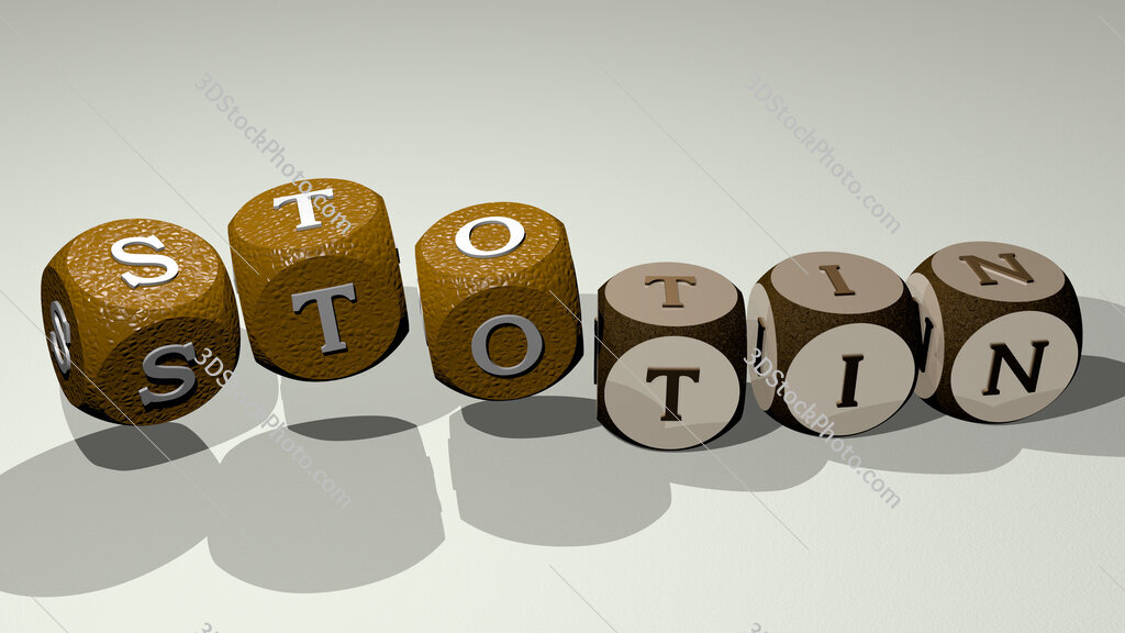 stotin text by dancing dice letters
