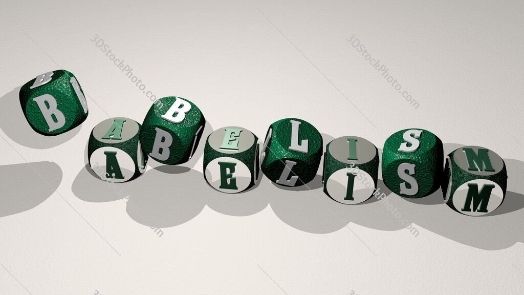 Babelism text by dancing dice letters