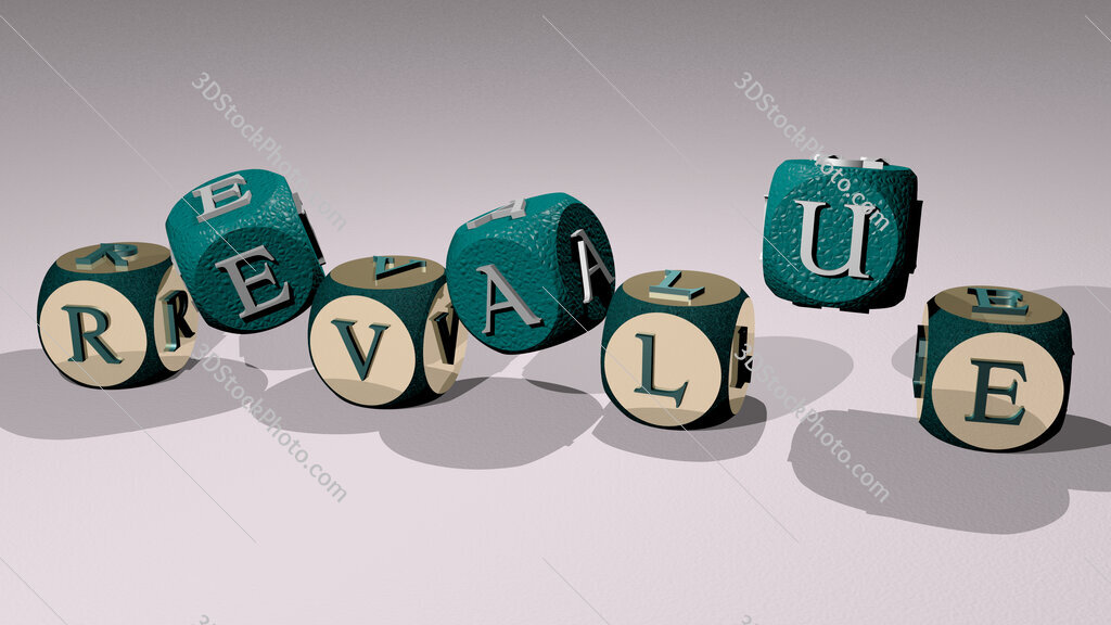 revalue text by dancing dice letters