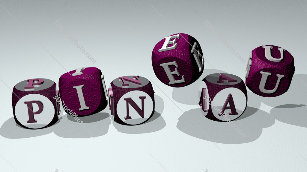 Pineau text by dancing dice letters
