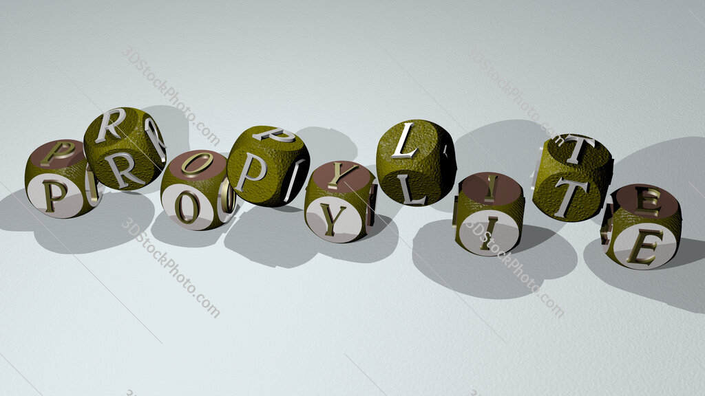 propylite text by dancing dice letters